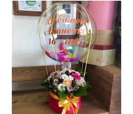 Коробка с цветами и шаром №8