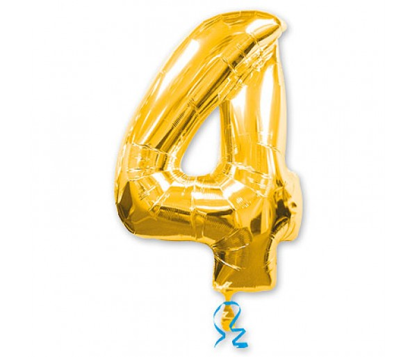 Шарик цифра 4 Золотая(90см)