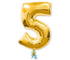 Шарик цифра 5 Золотая (90см)