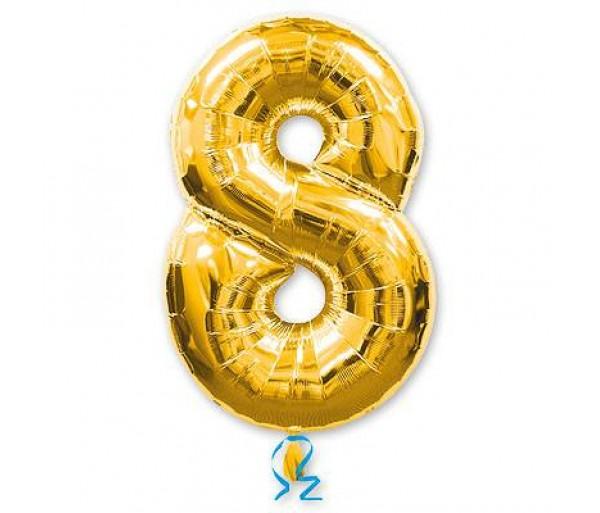 Шарик цифра 8 Золотая(90см)