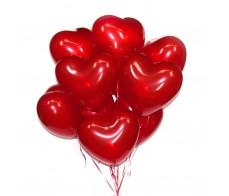 Сердечки кристалл красные 44 см  (10шт.)