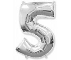 Шарик цифра 5 Серебро (90см)