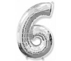 Шарик цифра 6 Серебро (90см)