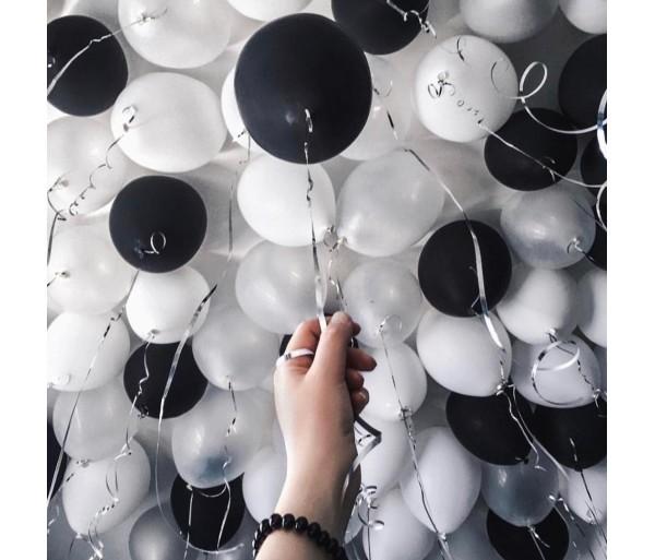 Шары под потолок Черно-белые 100 шт