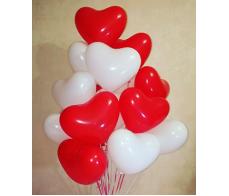 Сердце красно-белые 10 шт.