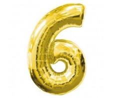 Шарик цифра 6 Золотая( 90см)