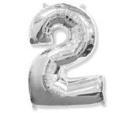Шарик цифра 2 Серебро (90см)