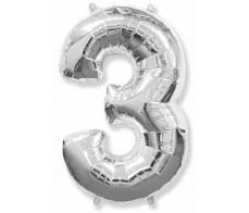 Шарик Цифра 3 Серебро(90см)