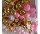 Шары под потолок золото в розовом 25 шт.