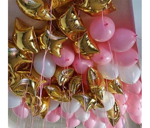 Шары под потолок золото в розовом 100 шт.