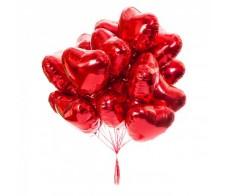 Сердце красное фольга 10 шт.
