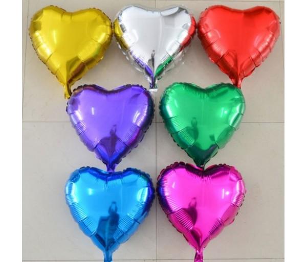 Шарик Сердце металлик разных цветов 1шт