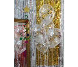 Стеклянные шары с серебряным конфетти 1шт.