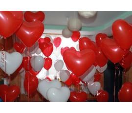 Сердце красно-белые 15 шт.